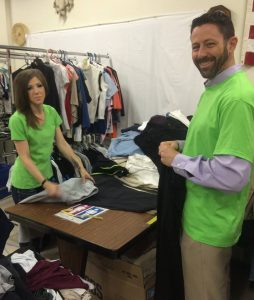 Sorting Clothing donations at Let's Help.